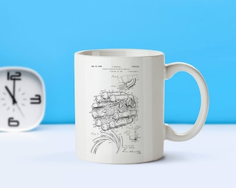 Jet Engine patent mug  coffee mug  coffee lover  patent art  patent mug  Aviation DecorPilot DecorJet EngineTravel DecorM186