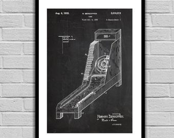 Skee Ball Patent, Skee Ball Arcade Game Poster, Skee Ball Blueprint,  Skee Ball Print, Skee Ball Art, Skee Ball Decor p266
