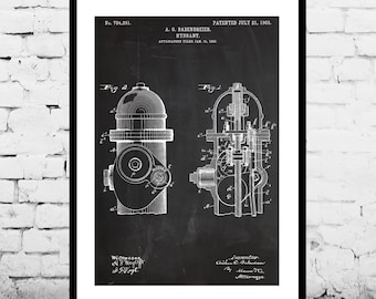 Fire Hydrant Poster Fire Hydrant Decor Fire Hydrant Print Fire Hydrant Art Fire Hydrant Patent Fire Hydrant Blueprint p562
