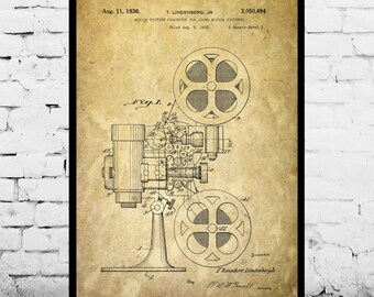 Motion Picture Projector Print, Motion Picture Projector Poster, Motion Picture Projector Patent, Vintage Motion Picture Projector p018