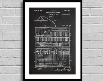 Organ Patent, Organ  Patent Poster, Organ Blueprint, Organ Print, Musical Instruments, Music Decor, Musician Gift, Home Decor, Vintage p840