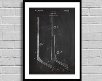 Hockey Stick Patent, Hockey Stick Patent Poster, Hockey Stick Blueprint, Hockey Stick Print, Sports Decor, Hockey Decor,Athlete Gift,p830