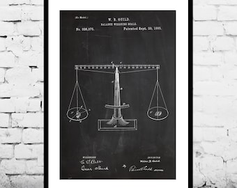 Scales of Justice Patent Scales of Justice Poster Scales of Justice Print Scales of Justice Art Scale Justice Lawyer Gift p257