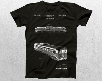 Rail Car Patent T-Shirt, Rail CarBlueprint, Patent Print T-Shirt, Vintage Train Shirt, Vintage Train, Locomotive T-Shirt p439