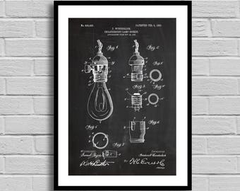 Incandescent Lamp Socket Patent Incandescent Lamp Patent Poster Incandescent Lamp Blueprint Incandescent Lamp PrintTechnologyHome Decor p621