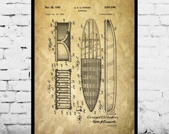 Surf Blueprint Patent Poster, Wall Art Poster, Surf Print, Wall Art Poster, Surf board, Patent prints, Surfboard Patent, Surfing art p042