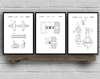 Dumbbell Patent Set of THREE, Dumbbell Invention Patent, Dumbbell Poster, Dumbbell  Print, Gym Patent, Dumbbell Inventions SP154