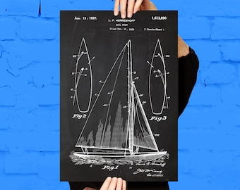 Sailboat Print Sailboat Poster Sailboat Patent Sailboat Decor Sailboat Art Sailboat Wall Art Sailboat Blueprint Nautical Design p752