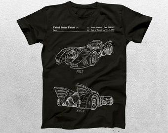 Batmobile Patent T-Shirt, Batmobile Blueprint, Patent Print T-Shirt, Batman T-Shirt, Batmobile Movie Shirt, Batman Gift p344