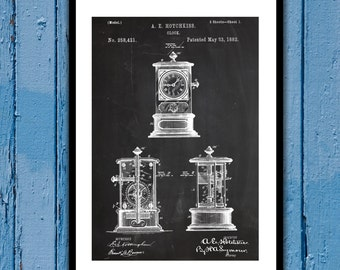 1882 Clock Patent 1882 Clock Poster 1882 Clock Blueprint 1882 Clock Print 1882 Clock Art 1882 Clock Decor p438