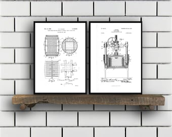 Inventions of Wine Patent Print Set of 2 Wine Patent  Wine Art  Wine Wall Art  Wine Decor  Wine Bar  Cork Screw Wine Poster sp14
