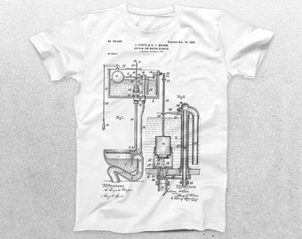 Toilet T-Shirt, Toilet Blueprint, Patent Print T-Shirt, Toilet T-Shirt, Plumber Gifts, Fun T-Shirt Ideas p1063