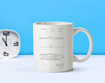 Ski patent mug  coffee mug  coffee lover  patent art  patent mug  Ski decor Skiing Sports Decor Skiing Gifts VintageM63