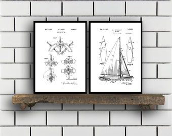 Nautical Patent SET of 2 Nautical Patent  Nautical Art  Nautical Patent  Mancave Decor  Nautical Sailing Art Home Decor SP459