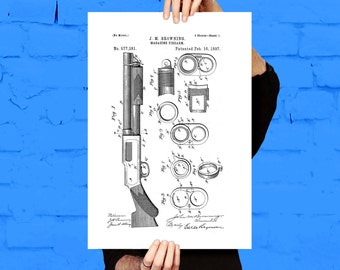 Browning Magazine Firearm Gun Poster Browning Magazine Firearm Patent Browning Magazine Firearm Print Gun poster Gun Print p1241