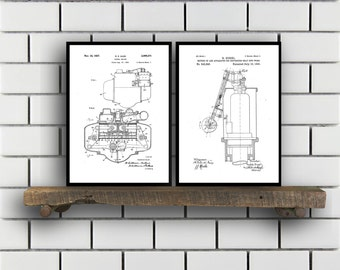 Diesel Engine Related Patent Set of TWO Diesel Engine Invention Patent Diesel Engine Poster Diesel Engine Engine SP377