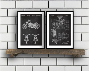 Harley Davidson Patent Posters Group of 2 Harley Davidson Prints Vintage Motorcycle Motorcycle Parts Motorcycle Harley Patent SP288