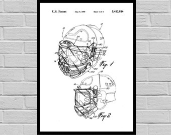 Hockey Helmet Patent, Hockey Helmet Poster, Hockey Helmet Print, Hockey Helmet Art, Hockey Art, Hockey Patent, Gift for him, Dorm Decor p825