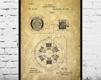 Tesla Alternating Motor Print Tesla Motor Patent Tesla Motor Print Tesla Art  Tesla Motor Alternating Motor Print Tesla Blueprint p06
