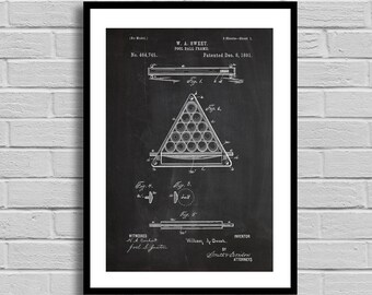 Pool Ball Frame Patent Pool Ball Frame Patent Poster Pool Ball Frame Blueprint Pool Ball Frame Print Pool Gift Billiard Collectible p1182