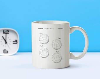 Volleyball patent mug  coffee mug  coffee lover  patent art  patent mug  Sports Decor Volleyball Collectible Gift For CoachesM280