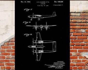 Hughes Airplane Poster Hughes Airplane Patent Airplane Print Hughes Airplane Art Hughes Airplane Decor Airplane art Flying pilot p10