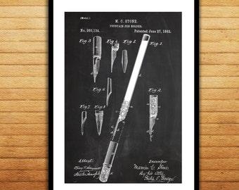 Fountain Pen Print Fountain Pen Poster Fountain Pen Patent Fountain Pen Wall Decor Fountain Pen BlueprintOffice Decor p578
