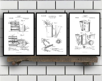 Bee Keeping Tools Patent Set of THREE, Bee Keeping Invention Patent, Bee smoker Poster, Beekeeper Print, bee keeping Inventions SP148