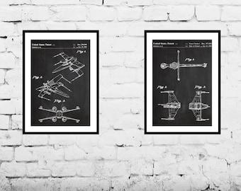 Star wars patent X Wing Star Wars Poster X Wing Star Wars Patent X Wing Star Wars Print XWing Star Wars Art Star Wars 2 Pack SP570