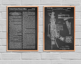 M-16 Rifle Print M-16 Rifle Poster M-16 Rifle Patent M-16 Rifle Art M-16 Rifle Decor M-16 Rifle Wall Decor M-16 Rifle Blueprint Gun 2P38