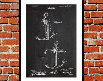 Ships Anchor Print Ships Anchor Poster Ships Anchor Patent Ships Anchor Decor Ships Anchor Blueprint Nautical Decor Boat Decor p262