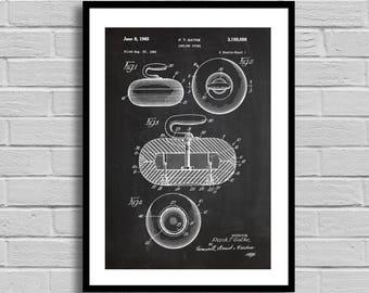 Curling Stone Patent, Curling Stone Patent Poster, Curling Stone Blueprint, Curling Stone Print,Sports Decor,Winter Sports,Athlete Gift p763