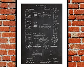 Lock and Key Patent Lock and Key Poster Lock and Key Blueprint  Lock and Key Print Lock and Key Art Lock and Key Decor p195