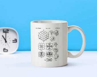 Rubik's Cube patent mug  coffee mug  coffee lover  patent art  patent mug  Retro Toys Toy Collectibles Classic Toys VintageM96
