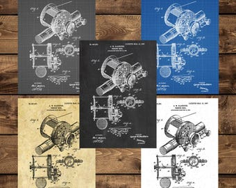 INSTANT DOWNLOAD - Fishing reel Patent, Fishing reel Patent Poster, Marine, Mancave decor, Gift for him, Nautical art, Fishing, Fisherman