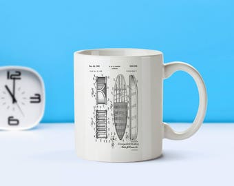 Surfboard patent mug  coffee mug  coffee lover  patent art  patent mug  Surfing Decor Beach Decor Sports Decor Seasonal DecorM36