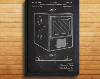 CANVAS  Vintage Television PatentVintage T.V. PosterVintage T.V. PrintVintage T.V. ArtVintage T.V. DecorT.V. Blueprint p326