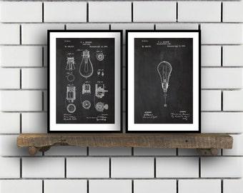 Thomas Edison Patent Prints  Set of 2  Light bulb Patent Thomas Edison Poster Thomas Edison Blueprint Thomas Edison art sp343