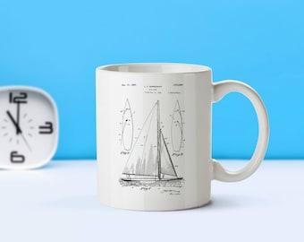 Sailboat patent mug  coffee mug  coffee lover patent art patent mug Nautical Decor Sailing DecorSailing CollectibleSailing GiftM85 SP1003