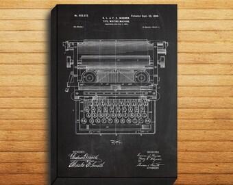 CANVAS  Typewriting Machine Patent Typewriting Machine Poster Typewriter Blueprint Typewriter Print Typewriter Art p308