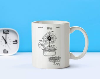 Compass patent mug  coffee mug  coffee lover  patent art  patent mug  Camping Decor Vintage Decor Hiking Decor Outdoors GiftM118