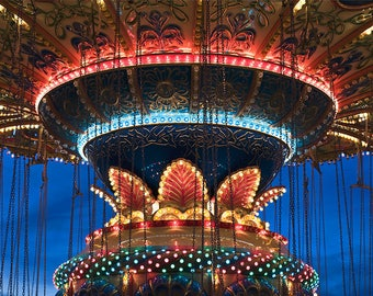 Night Photography Carnival Fair Amusement Park Home Decor Wall Decor PH0182
