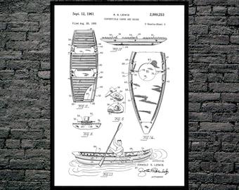 Canoe Patent Canoe Poster Canoe Blueprint  Canoe Print Canoe Art Canoe Decor p070