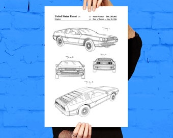 DeLorean Print, DeLorean Poster, DeLorean Patent, DeLorean Decor, DeLorean Art, DeLorean Blueprint, DeLorean Wall Art, DeLorean p092