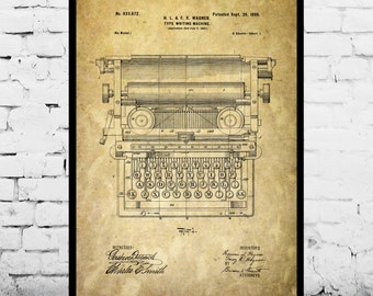 Typewriter Print Typewriter Poster Typewriter Patent Typewriter Decor Typewriter Art Typewriter Wall Art Typewriter Blueprint p308