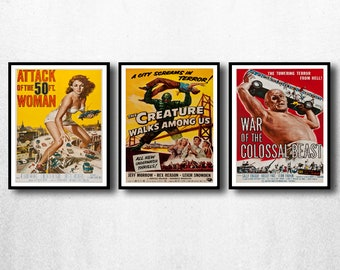 MOVIE posters set of 3 vintage movies Classic Horror Movie attack of the 50ft woman Poster Art Vintage Print Art Home Decor monster sp590