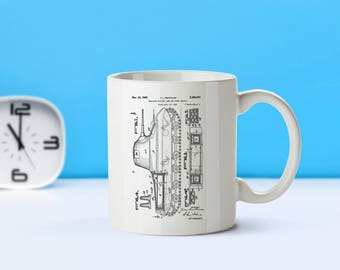 Insulated Tank patent mug  coffee mug  coffee lover  patent art  patent mug  Military DecorArmy GiftVintageTank DecorM29