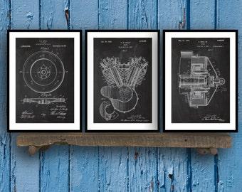 Harley Davidson Posters Set of 3 - motorcycle flywheel - Harley Clutch - Harley Davidson Motorcycle - Harley Engine - Motorcycle Sp63