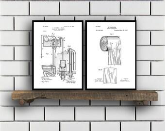 Toilet Patents Set of 2 Prints Toilet Prints Toilet Posters Toilet Blueprints Toilet Art Toilet Wall Art Toilet Prints Sp303
