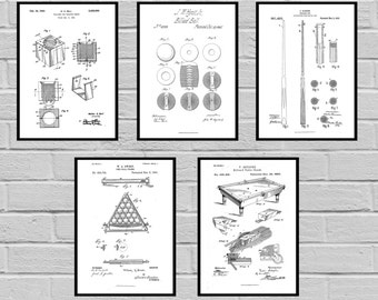 Pool Patents SET of 5 Posters Pool Patent Pool Prints Billiards Gifts Pool Art Pool Wall Decor Pool Table Billiard player SP473
